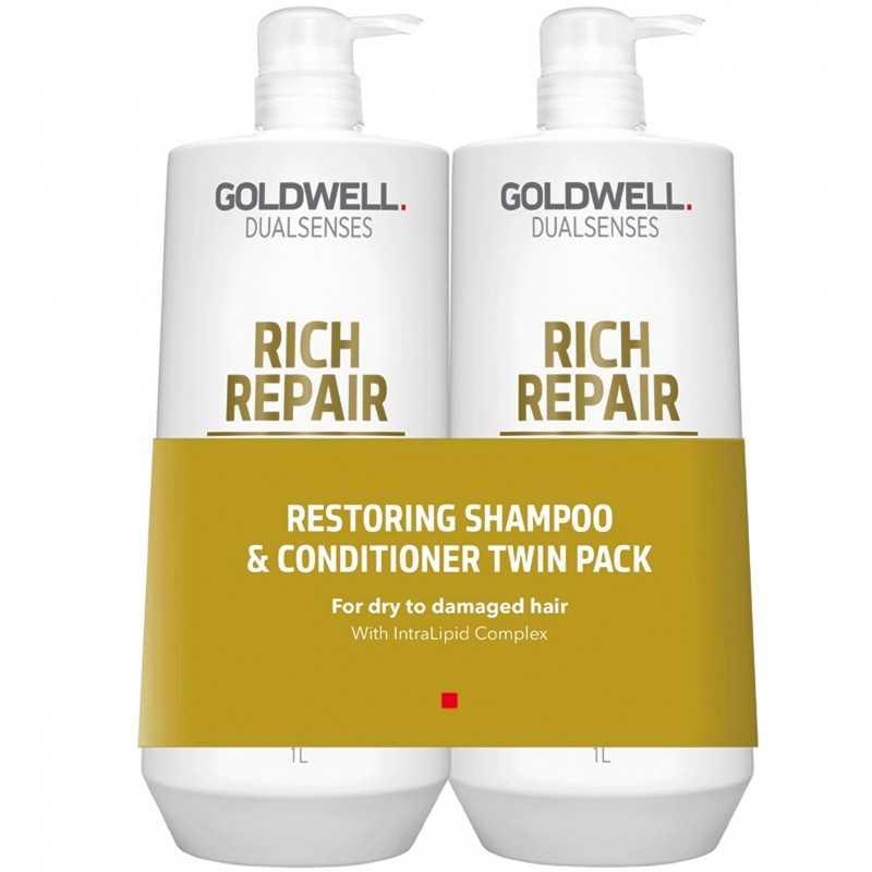 Goldwell DLS Rich Repair sz o DUO 2x1000Zestaw szampon 1000ml i odzywka 1000ml
