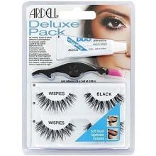 Ardell Deluxe Pack Wispies Black, pakiet sztucznych rzęs klej i aplikator